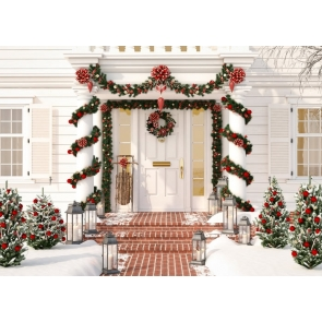 Luxury Villa Garden Christmas Tree Background Christmas Backdrops For Stage