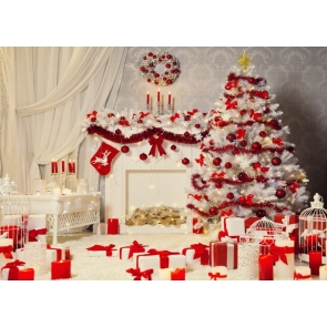 White Christmas Tree Background Rustic Christmas Backdrop
