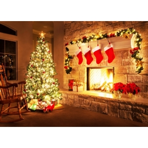 Lighted Christmas Tree Background Christmas Party Backdrop