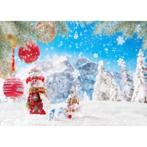 Winter Blue Sky Snowman Snow Background Christmas Backdrop