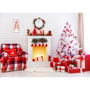 White Bricks Wall Fireplace Christmas Tree Background Christmas Party Backdrop
