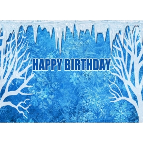 Personalise Blue Snow Ice Background Happy Birthday Party Backdrop