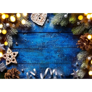 Pinecone Christmas Tree Branch Blue Wood Board Rustic Christmas Backdrop