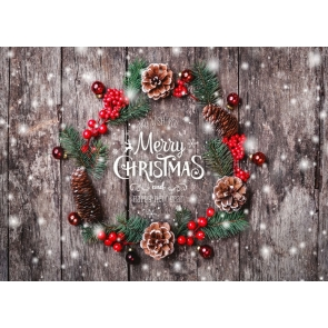 Pinecone Christmas Tree Branch Wood Board Merry Christmas Backdrop