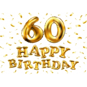 Golden Balloon 60th Happy Birthday Party Backdrop Photography Background