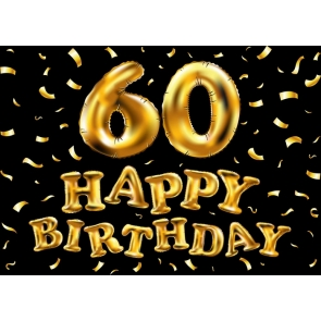 Black Wall Background Golden Balloon 60th Happy Birthday Party Backdrop
