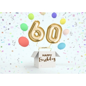 Golden Balloon 60th Happy Birthday Party Booth Backdrop Photography Background