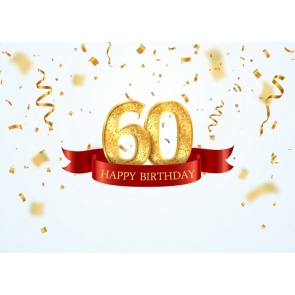 Personalise Happy 60th Birthday Booth Backdrop Photography Background