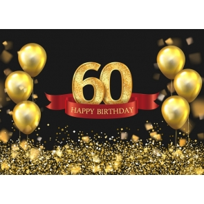 Black Wall Golden Balloon Background 60th Happy Birthday Party Booth Backdrop