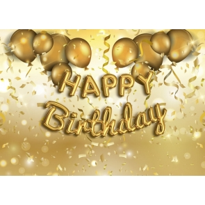Golden Balloon Happy Birthday Party Backdrop Photography Background