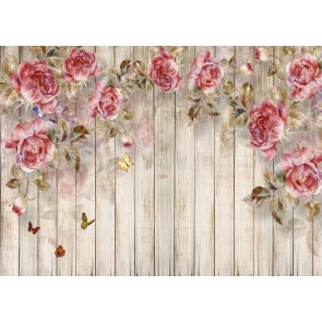 Personalized Wood Bridal Shower Backdrop With Flowers Wedding Background