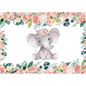 Elephant Baby Shower Birthday Party Backdrop Photography Background Prop