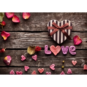 Valentine's Day Backdrop Lovely Sweetheart Love Wood Background