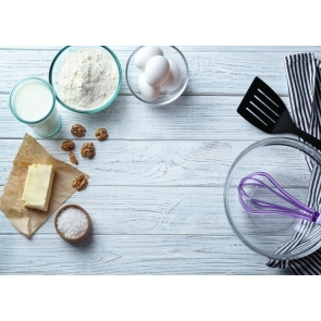 Creative Baking Ingredients Pastry Kitchen White Wood Backdrop Studio Photography Background