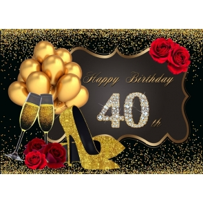 Golden Balloon On Black Background 40th Birthday Party Backdrop