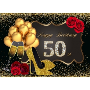 Golden Balloon On Black Background 50th Birthday Party Backdrop