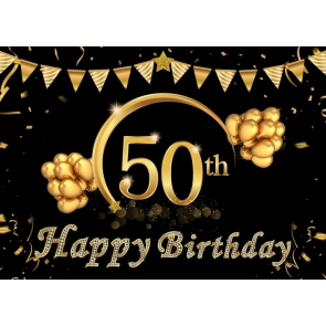 Golden Balloon Banner Background Happy 50th Birthday Party Backdrop