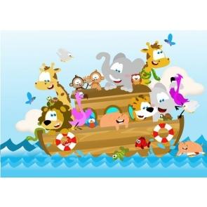 On The Sea Boat Cartoon Safari Happy Birthday Party Backdrop Photography Background
