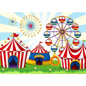 Circus Carnival Ferris Wheel Kids Birthday Party Backdrop Studio Portrait Photography Background
