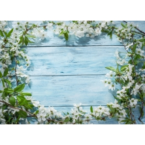 Creative Baby Shower Blue Wood Backdrop With Flowers Studio Photography Background