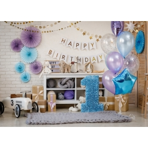 First 1st Happy Birthday Banner Balloon Backdrop Cake Smash Decoration Prop Photography Background