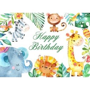 Cartoon Safari Children Birthday Backdrop Party Photography Background
