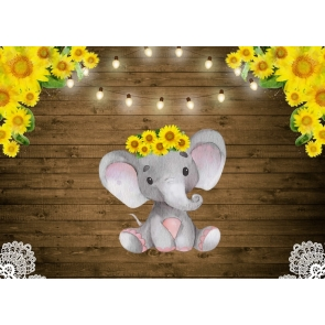 Elephant And Sunflower Baby Shower Birthday Party Backdrop Photography Background Decoration Prop