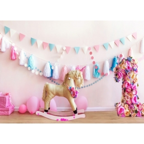 Baby Girl First 1st Happy Birthday Banner Backdrop Cake Smash Decoration Prop Photography Background