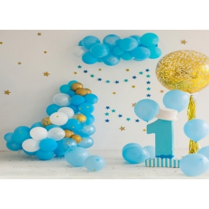 Simple Balloon Theme Baby Boy First 1st Happy Birthday Backdrop Cake Smash Decoration Prop Photography Background