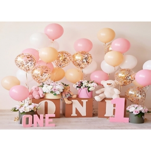 Simple Balloon Theme Baby Girl One Year Old First 1st Happy Birthday Backdrop Cake Smash Decoration Prop Photography Background