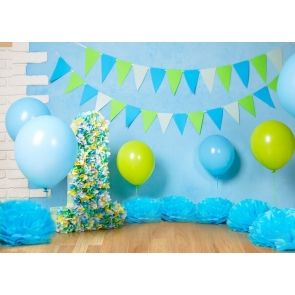 Simple Balloon Theme Blue Wall Background Baby Boy 1st Happy Birthday Backdrop Decoration Prop
