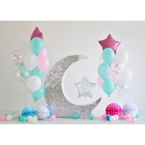 Simple Balloon Theme Baby Shower Happy Birthday Backdrop Cake Smash Decoration Prop