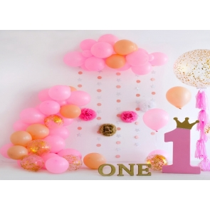 Simple Balloon Theme Wall Background Baby Girl  First 1st Happy Birthday Backdrop Cake Smash Decoration Prop