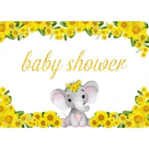 Elephant And Sunflower Baby Shower Backdrop Studio Photography Background Decoration Prop