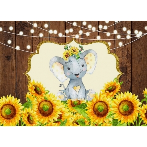 Elephant And Sunflower Baby Shower Birthday Wood Backdrop Studio Photography Background Decoration Prop