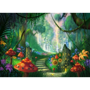 Fairy Tale World Mushroom Forest Wonderland Backdrop Party Stage Studio Photography Background