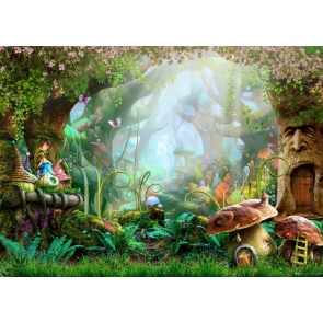Fairy Tale World Fores Mushroom Tree House Wonderland Backdrop Party Stage Studio Photography Background