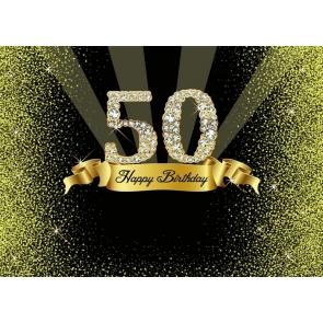 Shining Diamond Women 50th Happy Birthday Backdrop Photography Background Decoration Prop