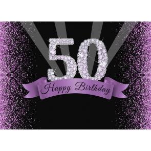 Purple Shining Diamond Glitter Women 50th Happy Birthday Backdrop Photography Background Decoration Prop