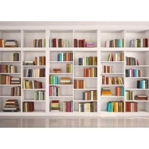 Modern Library Bookcase White Bookshelf Backdrop Wallpaper Studio Photography Background