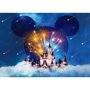 Beautiful Fireworks Castle Backdrop Baby Shower Birthday Party Photography Background