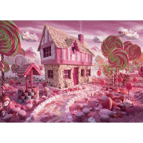 Cartoon Candyland Houses Backdrop Birthday Party Backdrop Photography Background