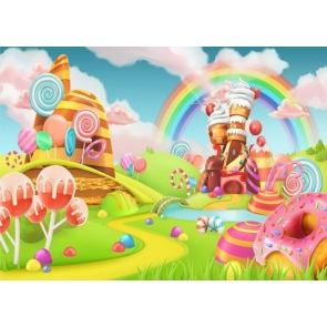 Cartoon Rainbow Candyland Backdrop Baby Shower Birthday Party Photography Background