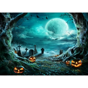 Cemetery Scary Pumpkin Halloween Party Backdrop Studio Stage Photography Background
