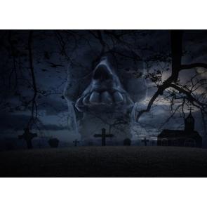 Terrifying Dark Cemetery Graveyard Scary Skull Halloween Backdrop Studio Stage Photography Background