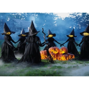Scary Witch Party Pumpkin Halloween Backdrop Studio Stage Photography Background