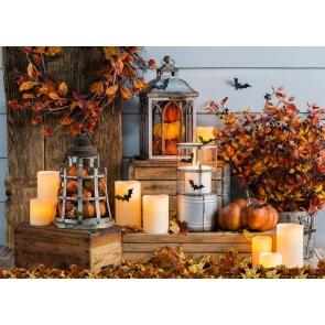 Candlelight TreeLeaves Bat Pumpkin Halloween Party Backdrop Studio Photography Background