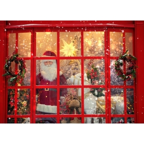 Red Glass Doors Windows Santa Claus Christmas Party Backdrop Photo Booth Photography Background