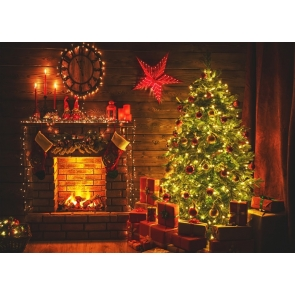 Bright Lights Fireplace Christmas Tree Backdrop Stage Party Photography Background