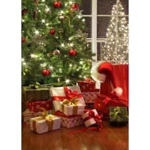 Santa's Gift Box Christmas Tree Backdrop Party Photography Background